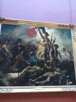 ルーブル美術館のドラクロワ 「民衆を率いる自由の女神」の絵画