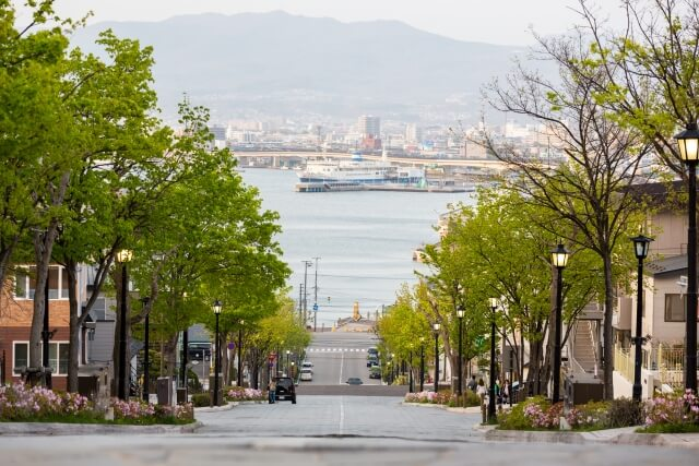 昼間の函館・八幡坂はまるでヨーロッパ