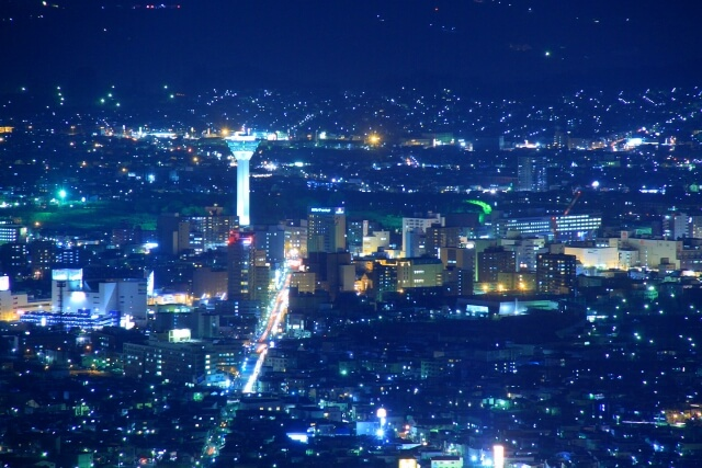函館山から見た五稜郭タワー