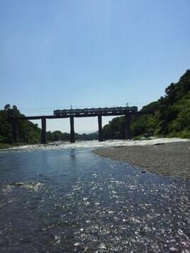 長瀞の荒川の浅瀬から電車の撮影