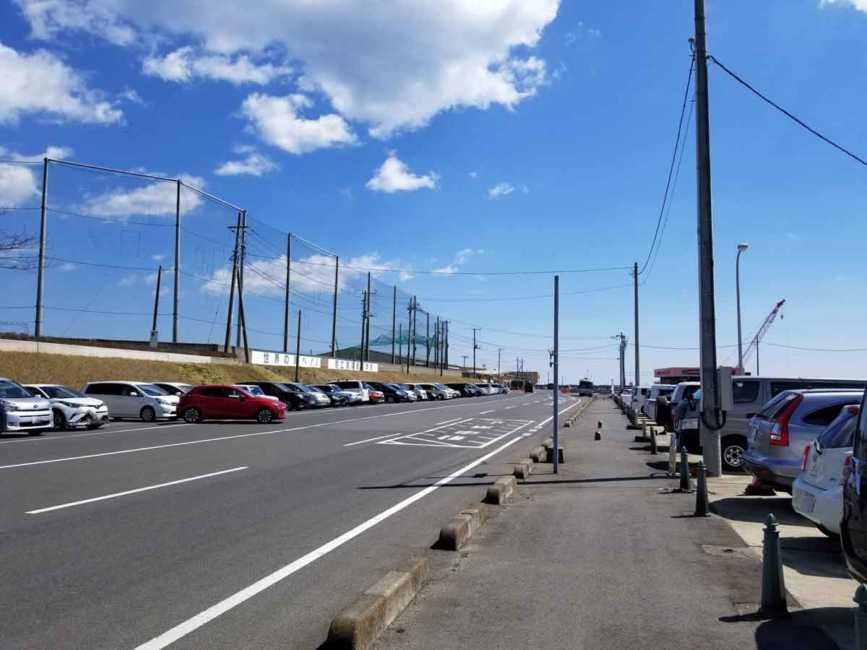那珂湊の市場の駐車場